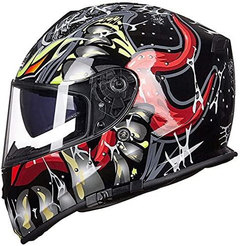 ZWJ Cascos Integrales De Motocicleta Certificación Dot/ECE Cascos Abatibles Integrados Material ABS Cascos De Motocross Casco De Cuatro Estaciones (Color : C, Size : XXXL=63~64cm)