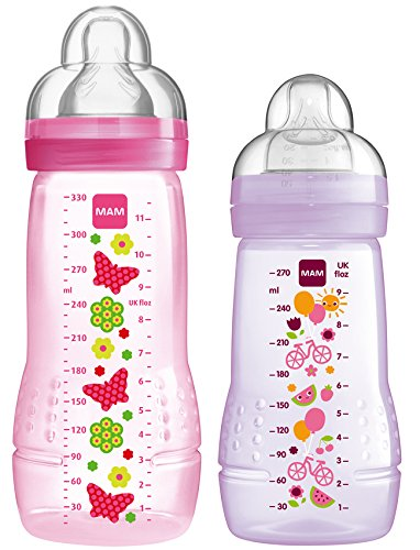 MAM 99970222 - Easy Active Baby Bottle Set, 270 ml plus 330 ml, Mädchen