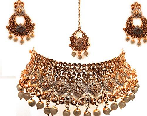 Indian Designer Gold Plated Ethnic Traditional Bollywood Bridal Kundan CZ Stone Meenakari Wedding Choker Necklace Jewelry Set Grey