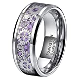 BestTungsten 8mm Tungsten Rings for Men Women Wedding Bands Purple Carbon Fiber Steampunk Gear Wheel Inlay Beveled Edges Comfort Fit
