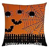 HEVÜY Halloween Pumpkin Kissenbezug 45 x 45 cm,Kissenhülle Dekorative Dekokissen Sofakissen Lendenkissen Wurfkissenbezug mit Verstecktem Reißverschluss