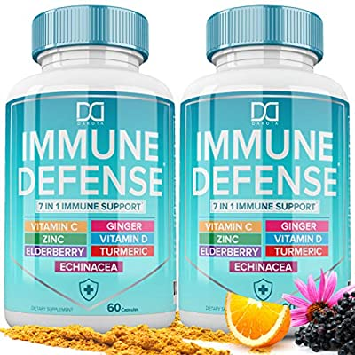 7 in 1 Immune Support Booster Supplement with Elderberry, Vitamin C and Zinc 50mg, Vitamin D 5000 IU, Turmeric Curcumin & Ginger, Echinacea - Immunity for Adults Kids, Immune Defense (120 Capsules)
