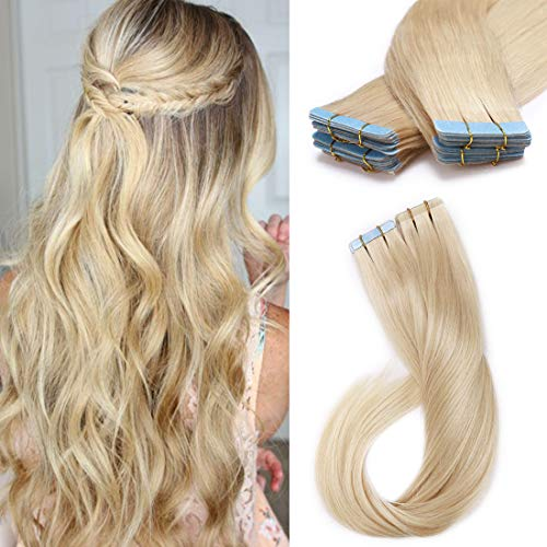 SEGO Blonde Remy Tape In Hair Extensions Human Hair Extensions Tape In Real Hair Straight Skin Weft Tape In Human Hair Extensions Seamless Invisible 20 Pieces Platinum Blonde 16 Inch 50 Gram