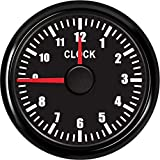 KAOLALI Waterproof Clock Meter Gauges 0-12 Hours Format High Accuracy with Blacklight 52mm(2'') 12/24V Black