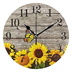WIHVE Sunflowers Butterfly Wooden Vintage Round Wooden Wall Clock, 10 Inch Battery Operated Desk Hanging Clock for Home Office School