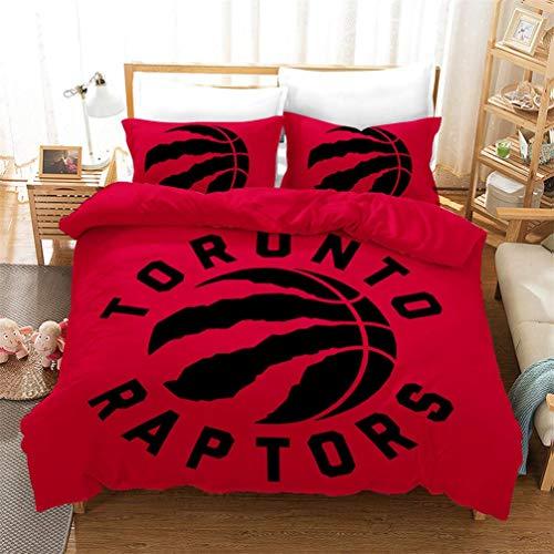 ACJIA Toronto Raptors 2019 NBA Finals Champion Juego de ropa de cama, 3 piezas (1 funda de edredón + 2 cojines) regalo para fans de 228 x 228 cm, microfibra, AB., 200*200cm