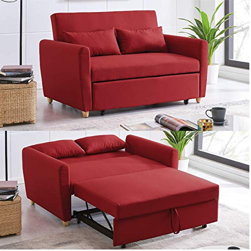 Modern Contemporary Space Saving Comfortable 2 Seater Sofa Bed Furniture Folding Easy Pull Out Full Size Double Bed Red Fabric Thick Foam Cushions Settee Couch Pull-Out Sofabed