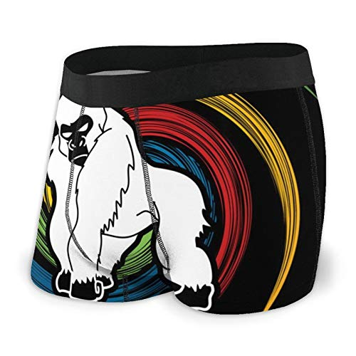 Funny Boxer Briefs for Men's Gorilla King Kong Angry Printed Underwear Underpants Black