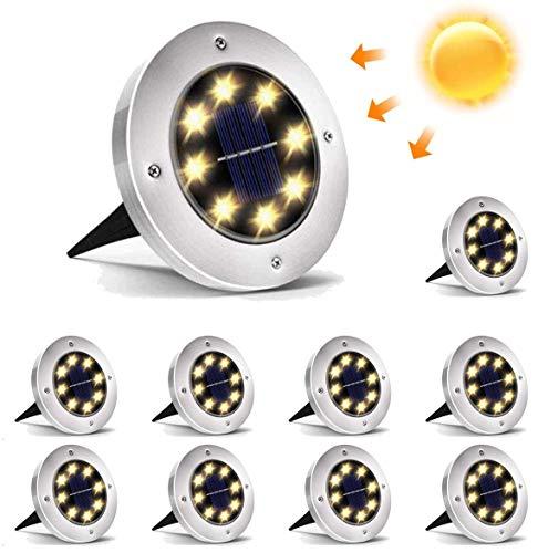 Luz Solar Exterior Jardin, Lacyie 10 Piezas 8LED Focos Led Exterior Solares Impermeable IP65 Lámpara en el Exterior Luz Enterrada del Jardín Decoración de Patio Lawn (Blanco Cálido)