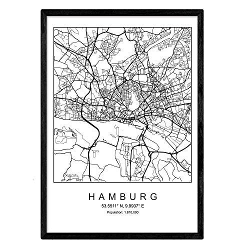 Nacnic Minimalistische Stadtplanen Poster. Geometrische Stil Wanddekoration Abbildung von Hamburg. Verschiedene Deutsche Stadtkarten, Plänen und Reisen Bilder ohne Rahmen. Größe A3.