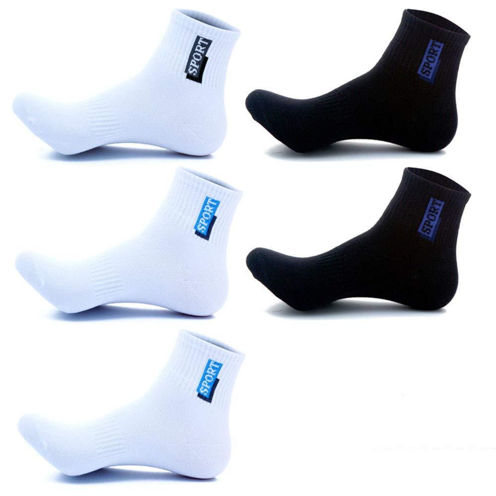 zhaoaiqin 5 pares, algodón, calcetines de los hombres, 100% algodón, cuatro estaciones, algodón que absorbe la humedad, blanco 3 negro 2: Amazon.es: Deportes y aire libre