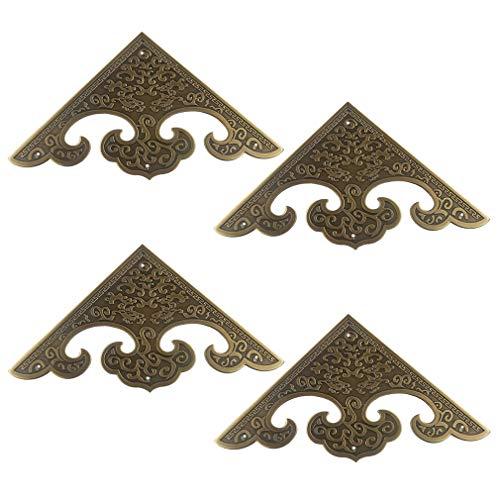 Tiazza 4 protectores de esquina de cobre puro de tamaño grande, estilo clásico, para armarios, puertas y armarios