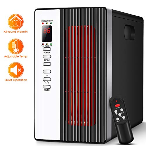 Portable Infrared Heater - 1500W Electric Heater with 3 Modes, Timer Setting, Remote Control Portable Ceramic Heater Intelligent Programmable Thermostat, Energy-Saving Indoor Space Heater for Home