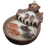 """Quemador de incienso con conos de reflujo para estanque de peces, hecho a mano, de cerámica, con soporte para incienso de reflujo""""Fish Lotus Pond"""", negro, 10,5 x 15 x 7 cm"""
