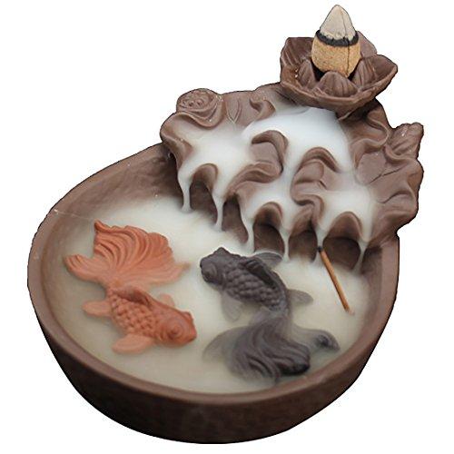 """Quemador de incienso con conos de reflujo para estanque de peces, hecho a mano, de cerámica, con soporte para incienso de reflujo\""""Fish Lotus Pond\"""", negro, 10,5 x 15 x 7 cm"""