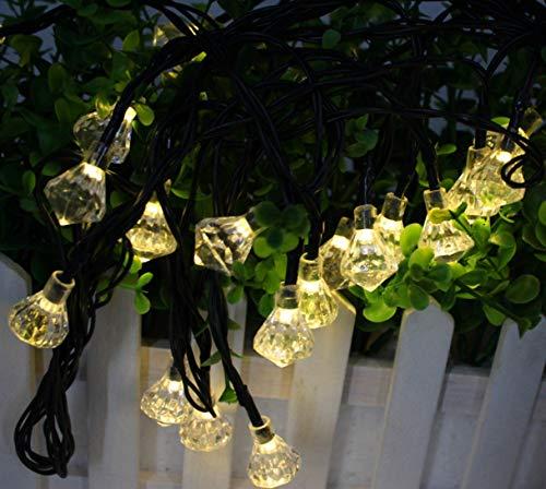 Solar 2 funciones diamante blanco cálido exterior impermeable paisaje patio jardín cadena de luz decorativa 50LED