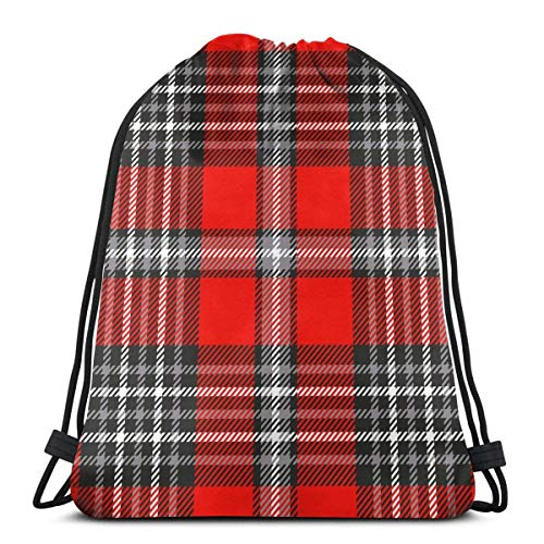 Lsjuee Plaid Check Pattern Red Grey Black Drawstring Backpacks for Kids Girl Boy Birthday Party Favors Gym Bags PE Bags