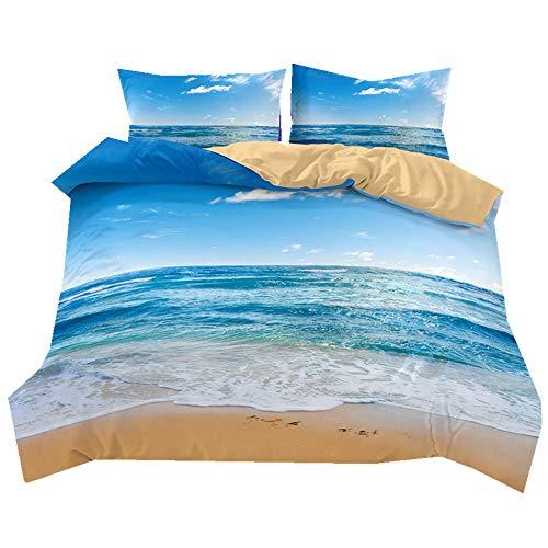 Stillshine Juego de sábanas Verano Azul Cielo Playa Resort Paisaje Suave y Transpirable Funda de edredón y Funda de Almohada Juego de Cama 100% poliéster, poliéster, Blue Ocean, Doublé