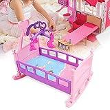 YUHT Puppenhausmöbel, große Simulation Prinzessin Bett Puppenbett Krippen Möbel Baby Play House Spielzeug Zubehör für Puppenhaus DIY