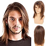 Baruisi Mens Wig Brown Long Straight Synthetic Cosplay Halloween Hair Wigs for Fancy Dress