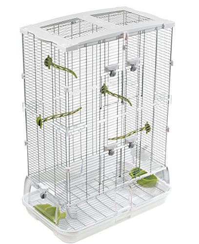 Vision M02 Wire Bird Cage, Bird Home for Parakeets, Finches and Canaries, Tall Medium, 83255, white