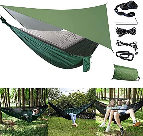 Amaca da giardino, amaca da campeggio, Zoomarlous amaca da giardino 2 posti, con zanzariera e tenda da sole, per trekking, viaggi, spiaggia, giardino, capacità 440 lbs