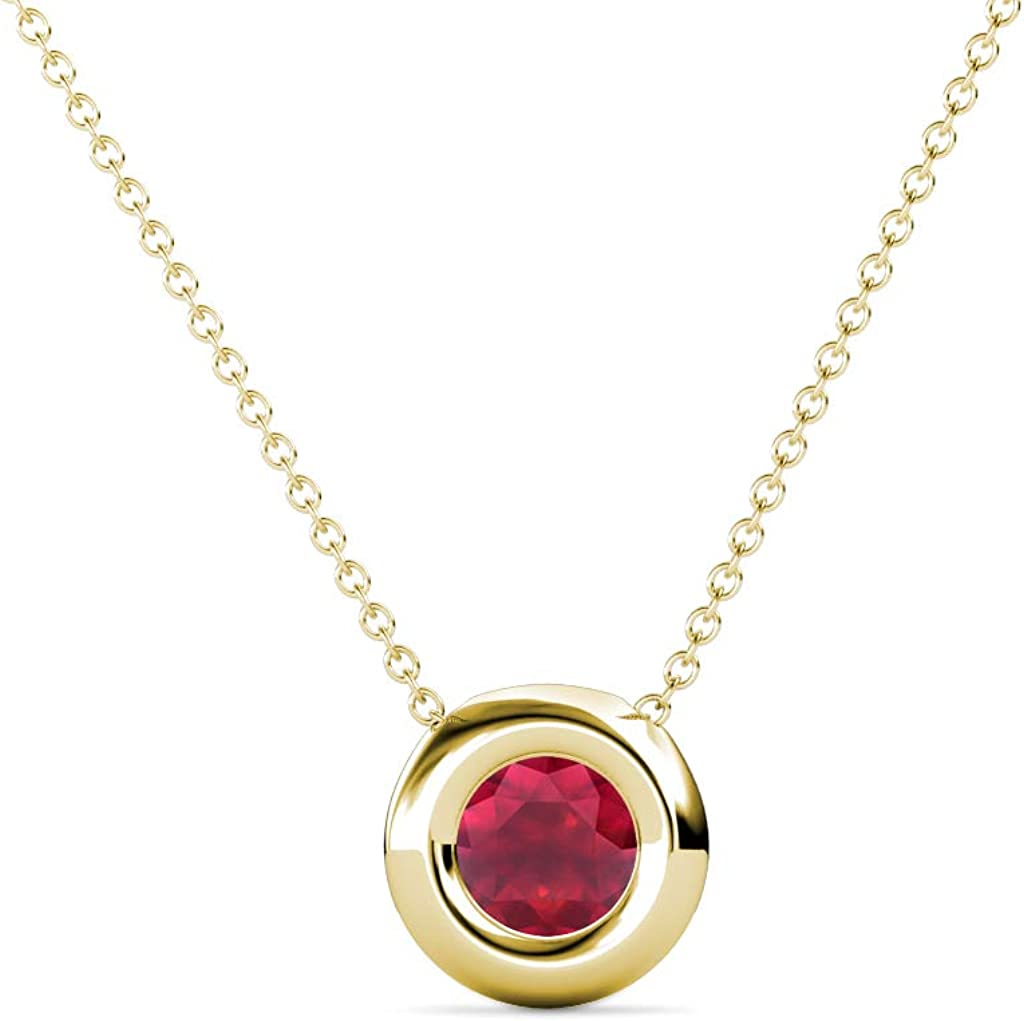 TriJewels Round online shopping Ruby 3 Clearance SALE Limited time 5 ct Pen Solitaire Womens Set Donut Bezel