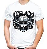 Hamburg City Männer und Herren T-Shirt   Stadt Reeperbahn Anchor     M2 (XXL, Weiß)