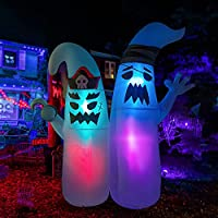 HOOJO 8 FT Halloween Inflatables Two Pirate Ghosts Outdoor Halloween Decorations with Build-in LEDs