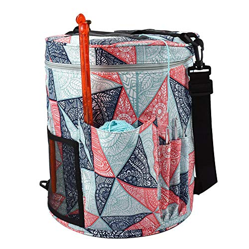 QUUY draagbare gebreide tas opbergtas van licht garen met zakken voor breien en haken (accessoires niet inbegrepen) methode