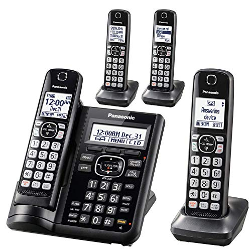 Panasonic KX-TGF544B Dect 4-Handset Landline Telephone (Renewed)