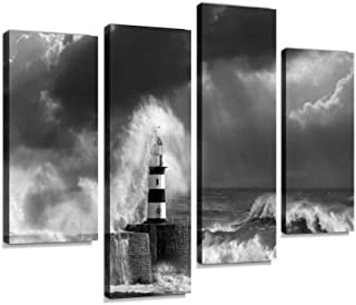 Canvas Wall Art Painting Pictures Waves Crashing Over Seaham Lighthouse Modern Artwork Framed Posters for Living Room Ready to Hang Home Decor 4PANEL
