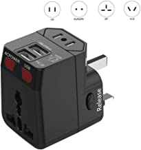 International Power Adapter Plug (2 USB Ports 2100MA) - US Europe France UK Ireland Thailand China NZ Australia 200+ Count...
