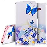 Galaxy A7 2017 Case,Galaxy A7 2017 Wallet Case, PHEZEN White Pu Leather Wallet Case with Card Slots Stand Book Style Folio Flip Cover for Samsung Galaxy A7 2017 (Blue Butterfly Flower)