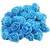 (Mikishin) バラ 造花 50個 3cm ブーケ ローズ 薔薇 結婚式 ブローチ 装飾 (ブルー)