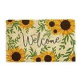 DII Home Natural Coir Doormat, Indoor/Outdoor, 18x30, Sunflower Welcome