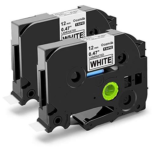 Nastri Oozmas Compatibile In sostituzione di Brother TZe-231 TZe Tape 12mm 0.47 x 8m, Compatibile Brother P-touch PT-H110R PT-1005 PT-1010 PT-1830VP PT-2030, (Nero su Bianco, confezione da 2)