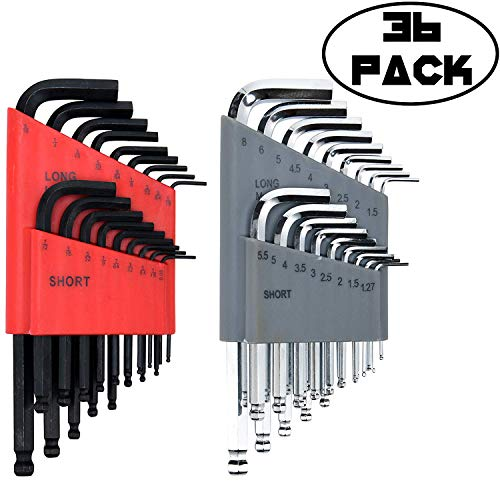 Allen Wrench Set (36 Wrench Set in SAE and Metric) Long and Short Arm Ball End Hex Keys