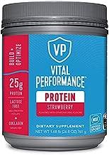 Vital Performance Protein Powder, 25g Lactose-Free Milk Protein Isolate Casein & Whey Blend Protein Powder with 10g Grass-Fed Collagen Peptides, 8g EAAs, 5g BCAAs, Gluten-Free - Strawberry, 1.68lb