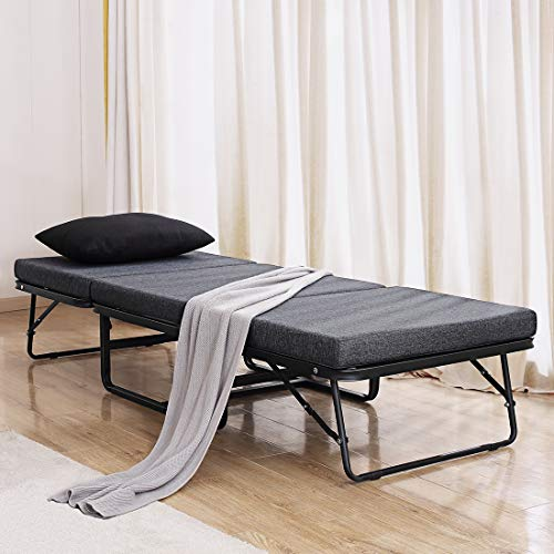 """TATAGO Premium Ottoman Folding Bed with Steel Mesh Wire Lattice Base–500lbs Max Weight Capacity, Extra-Thick CottonCover, Guest Hideaway, Dual Use– 78"""" x 30"""""""