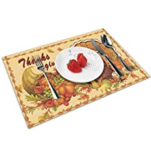 DURABLE MATERIAL: Polyester. Strong wear resistance. Good wrinkle resistance. PACKAGE: Included 4 sets of Rectangle placemats (12x18in / 30x45cm). EASY CLEAN: Washable. Hand wash or wipe clean. Dry quickly. Easy to store. PROTECTION: Strongly heat-re...