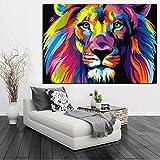BailongXiao Cuadro En Lienzo Decoración de Pared de Animales de león para Sala de Estar Imagen de Arte de Pared Carteles caseros Obras de arte75x100cmPintura sin Marco