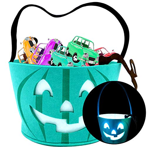 Light Up Teal Pumpkin Halloween Felt Trick or Treat Bucket, with 3 Blue LED Light, Halloween Party Favors, Halloween Snacks, Halloween Goodie Bags for Kids, Novlety Gifts