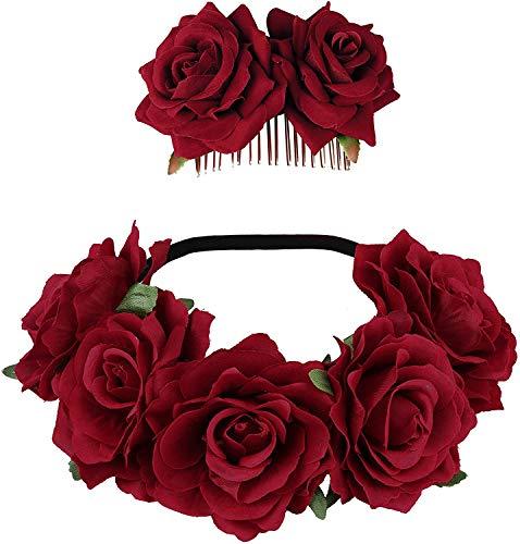 Milacolato Damen Boho Stirnbänder Rot Rose Blume Crown Hochzeitsfest Stirnband Haar Girlande Hochzeit Kopfschmuck Rose Blume Crown Blume Halloween Stirnband Set Haarschmuck