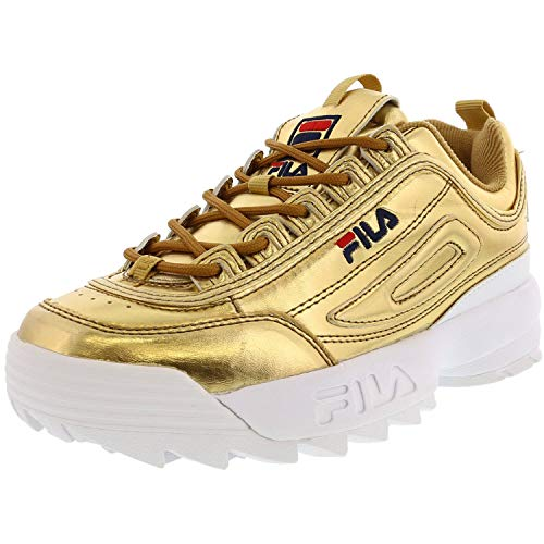 Fila Womens Disruptor II Leather Low Top Lace Up Fashion, Gold White, Size 9.0