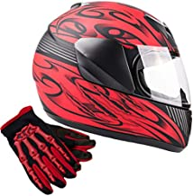Typhoon Youth Kids Full Face Helmet with Shield & Gloves Combo Motorcycle Street Dirt Bike - Red (Medium)