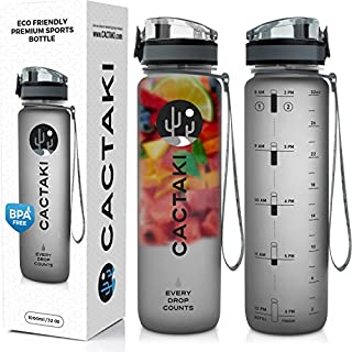 Cactaki Water Bottle with Time Marker, Large BPA Free...