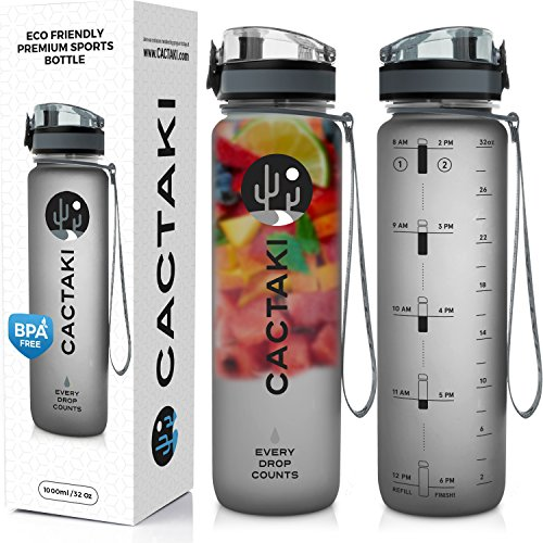 Cactaki 32oz Water Bottle with Time Marker, BPA Free Water Bottle, Non-Toxic, Leakproof, Durable, for Fitness and Outdoor Enthusiasts (Grey-New)