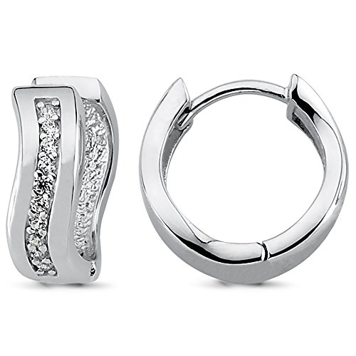 Vinani Klapp-Creolen Zirkonia weiß glänzend geschwungen Sterling Silber 925 Ohrringe 2CGZ