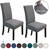 NORTHERN BROTHERS Dining Chair Covers Stretch Chair Covers Parsons Chair Slipcover Chair Covers for Dining Room Set of 2,Light Grey